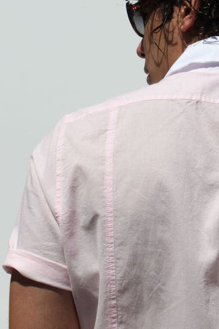 Rufskin Pink Oliver Short Sleeve Button Up
