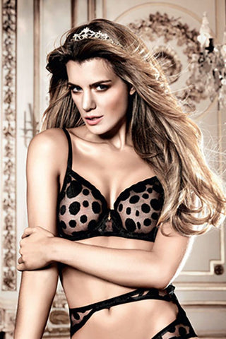 Baci Black Dot Mesh Bra with Underwire