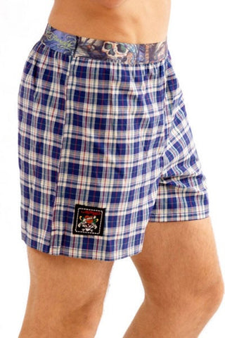 Ed Hardy Royal Blue Pirate Plaid Boxer