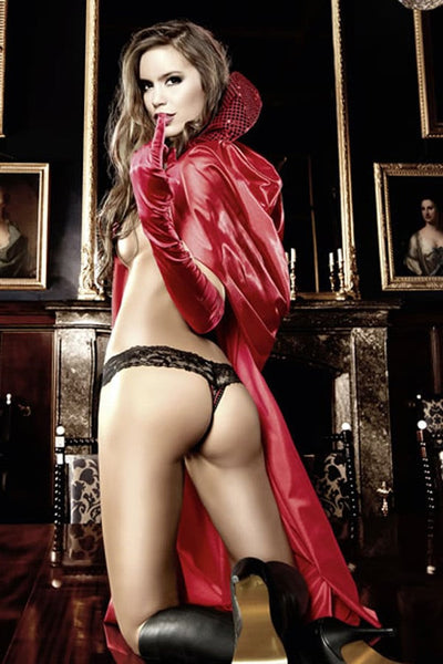 Baci Red Long Satin Cape