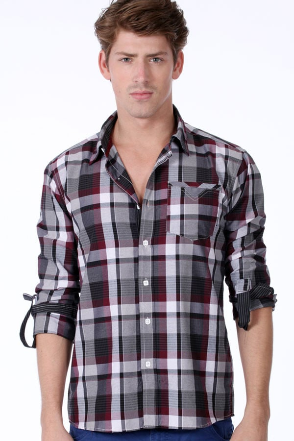ONE90ONE Black & White Checked Button-Up
