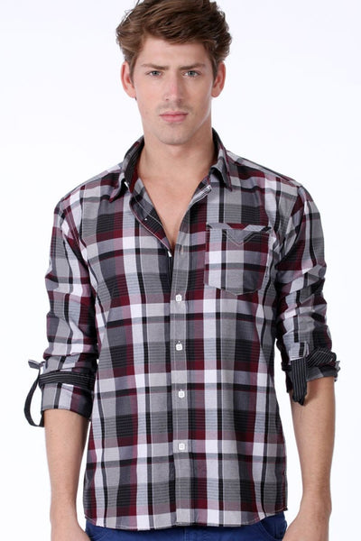 ONE90ONE Black & White Checked Button-Up - CheapUndies.com