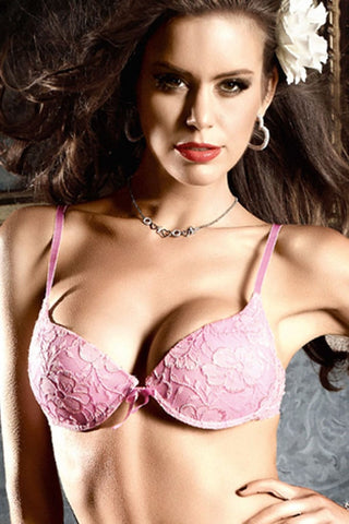 Baci Pink Floral Lace Bra with Underwire