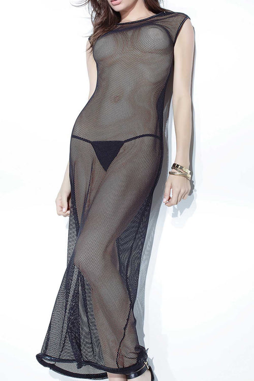 Coquette Black Fishnet Full-Length Dress - CheapUndies.com