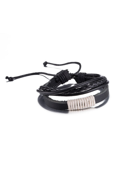 Black & White Vintage Fashion Strap Leather Rope Wristband Bracelet - CheapUndies.com