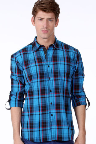 ONE90ONE Blue & Black Plaid Button-Up