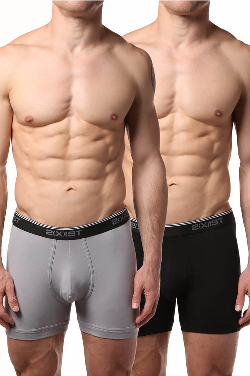2(X)IST Black/Grey Stretch No-Show Boxer Brief 2-Pack - CheapUndies.com