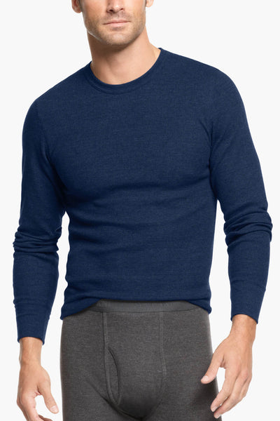 Alfani Navy Thermal Knit Waffle Crew-Neck Shirt - CheapUndies.com