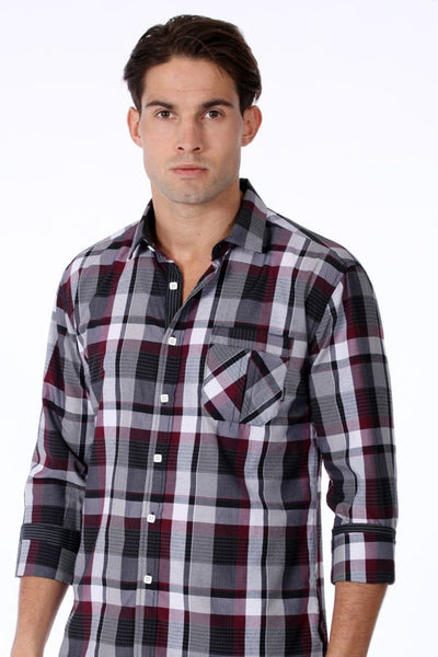 ONE90ONE Black & White Checked Button-Up w/ Patch Pocket