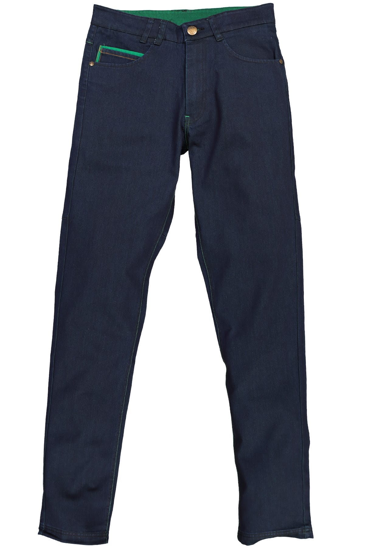 Smash Navy Blue & Green Stitch Denim Pant