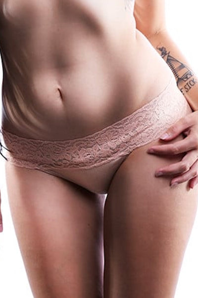 Jezebel Beige Sparkle Thong - CheapUndies.com