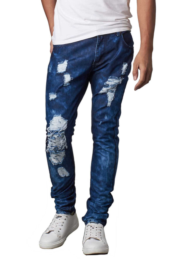 Recess Jeans & Design Blue Distressed Slim Tapered  Denim Pants - CheapUndies.com