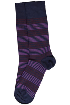 Hugo Boss Purple & Navy Striped Sock