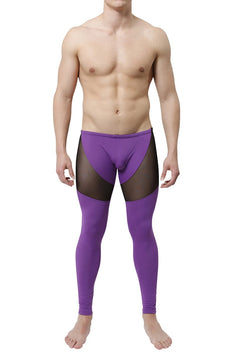CheapUndies Purple Mesh Panel Performance Tights