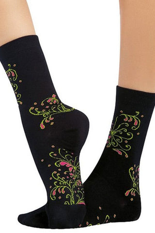 Lucci Brown Lily Crew High Sock