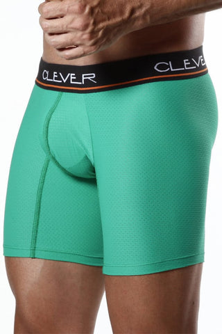 "Clever 9"" Green Mesh Boxer Brief"