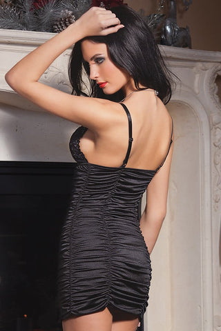 Coquette Black Lace Lycra Gathered Dress
