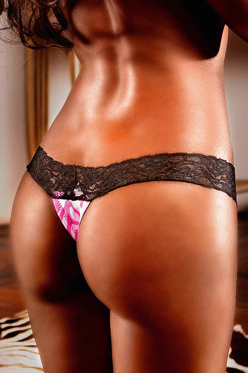 Baci Pink/Black Lace & Microfiber Thong - CheapUndies.com