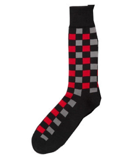 Alfani Checkered Crew Casual Socks Black - CheapUndies.com