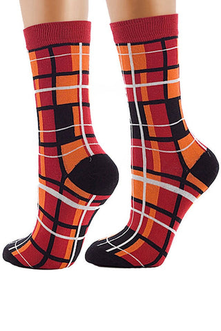 Lucci Red Squares Crew Sock
