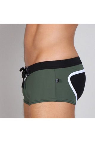 Timoteo Green & Black Long Board Swim Trunk