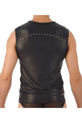Gregg Homme Black Leather-Look Muscle Shirt