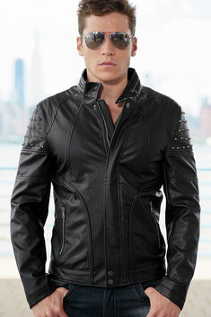 American Stitch Black Faux-Leather Moto Jacket