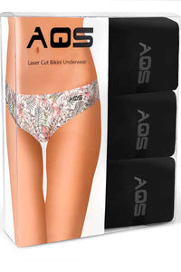 AQS Tropical-Black Laser Cut Bikini Brief 3-Pack