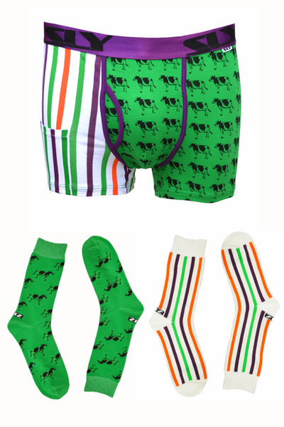 Sly Green & Multi Milk The Cow Boxer Brief & Socks Pack - CheapUndies.com
