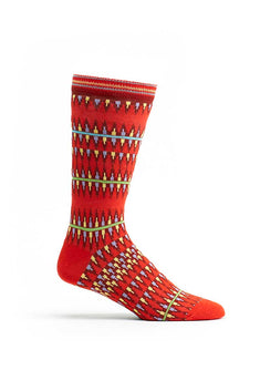 Ozone Red Kente Spears Calf Sock