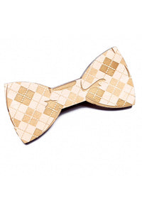 Brand Breeders Brown Argyle Mania Wooden Bow Tie