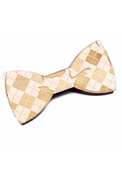 Brand Breeders Brown Argyle Mania Wooden Bow Tie - CheapUndies.com