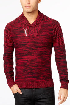 INC International Concepts Rhubarb Nickelby Marled Shawl-Collar Sweater
