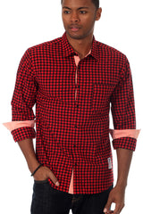 "Something Strong Red ""Something Needed"" Button Up"