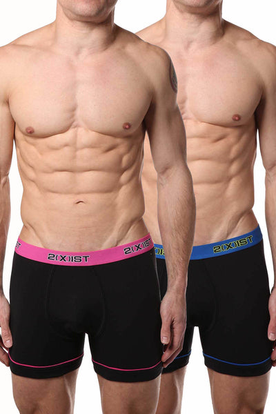2(X)IST Black Contrast Performance Cotton Boxer Brief 2-Pack - CheapUndies.com