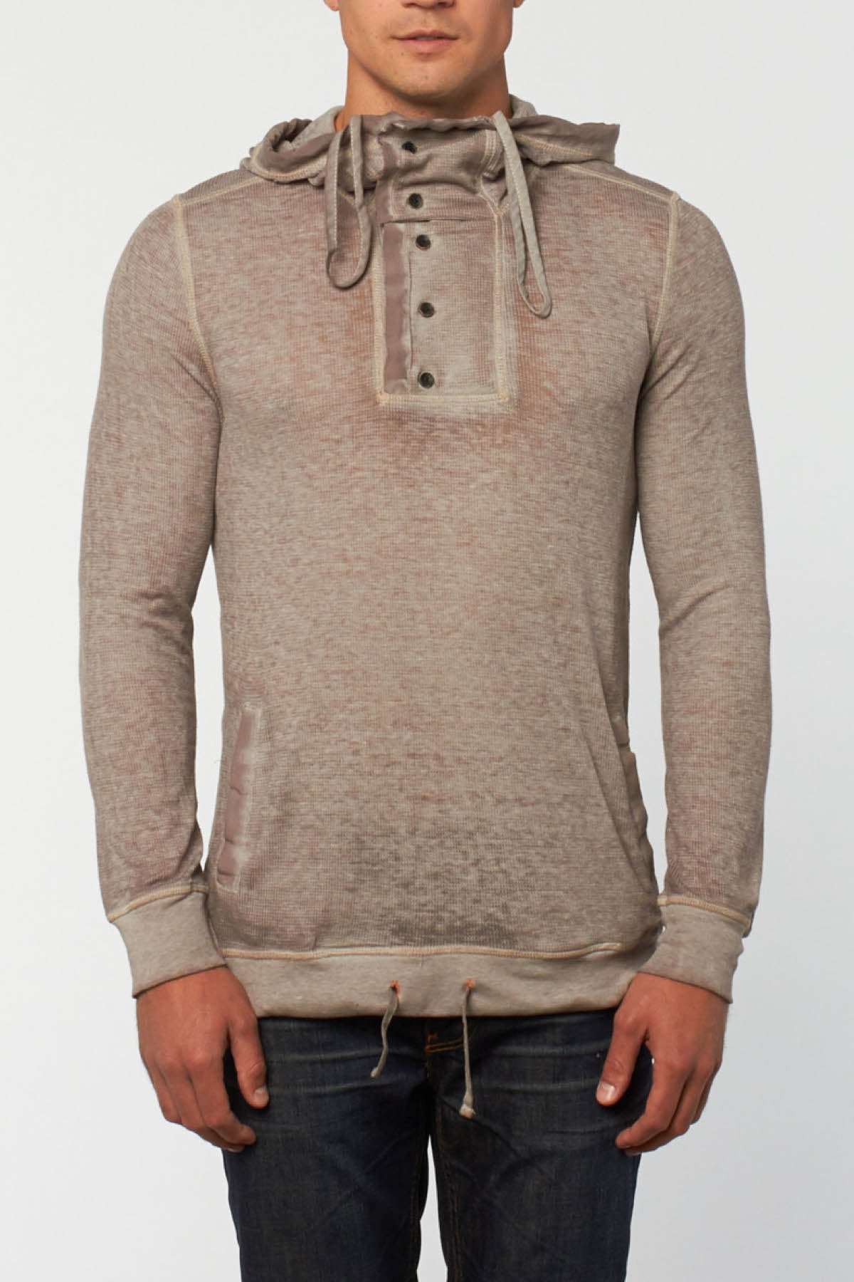 Cohesive & Co. Skalden Taupe Burnout Thermal Hoodie