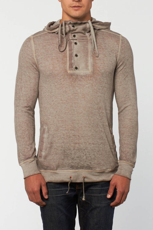 Cohesive & Co. Skalden Taupe Burnout Thermal Hoodie - CheapUndies.com