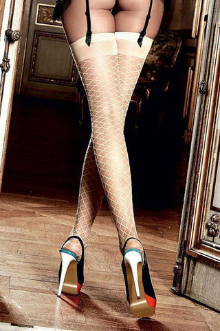 Baci Beige Diamond Thigh High