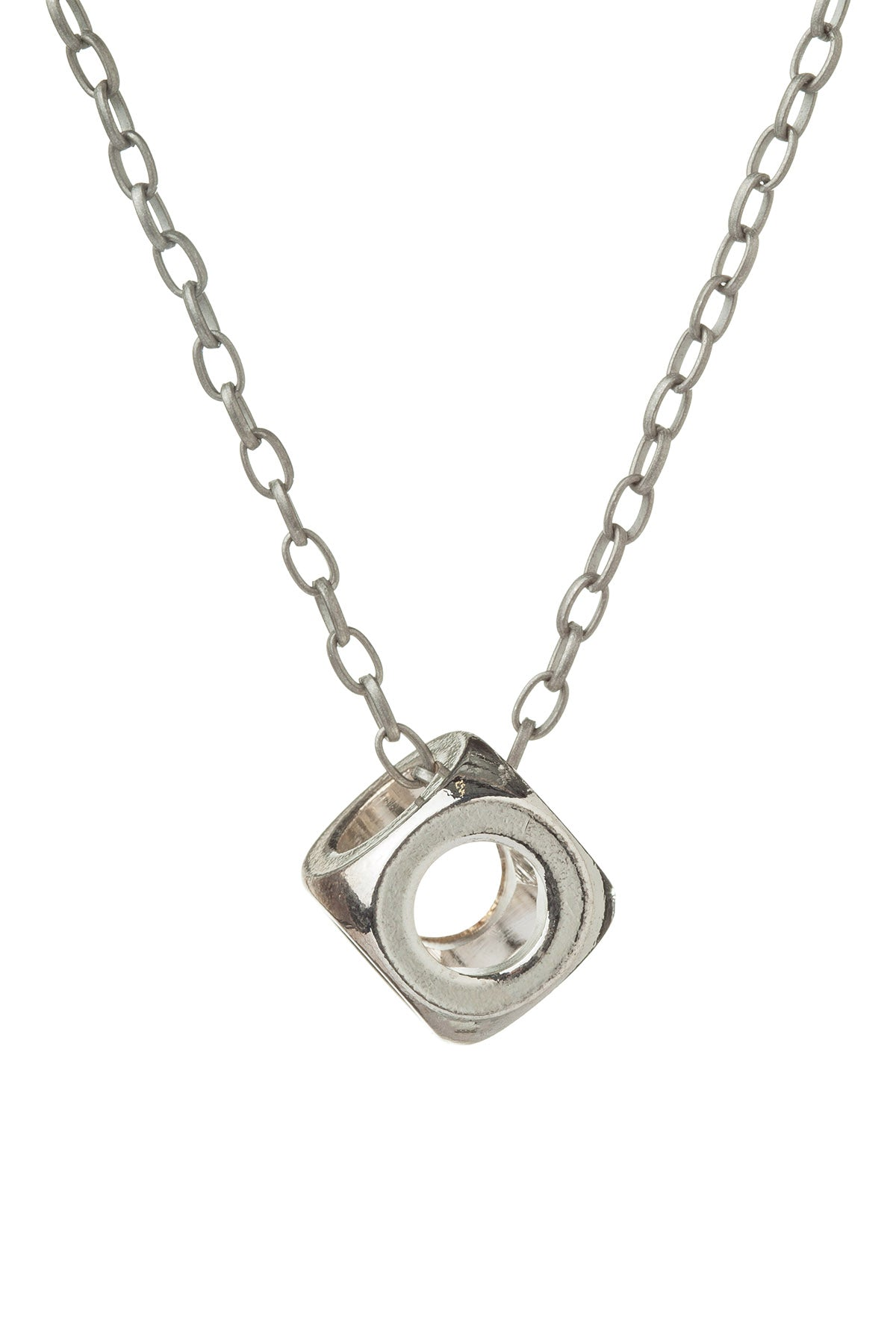 Rave Cube Silver Necklace