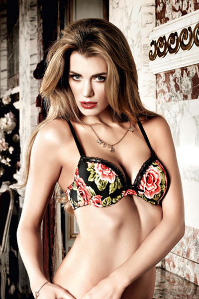 Baci Black Floral Microfiber and Lace Support Bra with Underwire