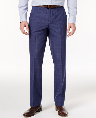 Nautica Men's Slim-Fit Blue Glen Plaid Dress Pants - CheapUndies.com