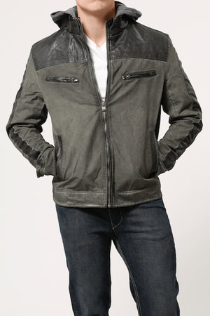 X-Ray Jeans Olive Cotton & Leather Look Jacket