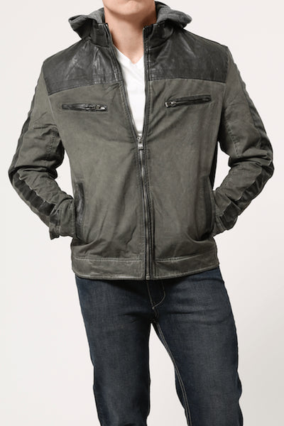 X-Ray Jeans Olive Cotton & Leather Look Jacket - CheapUndies.com