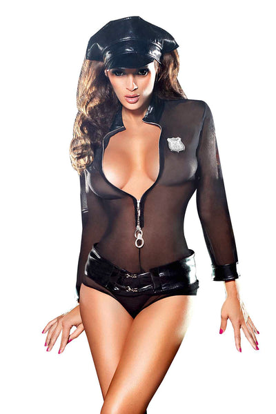 Baci 3pc Black Undercover Cop Dress-Up Lingerie Costume - CheapUndies.com