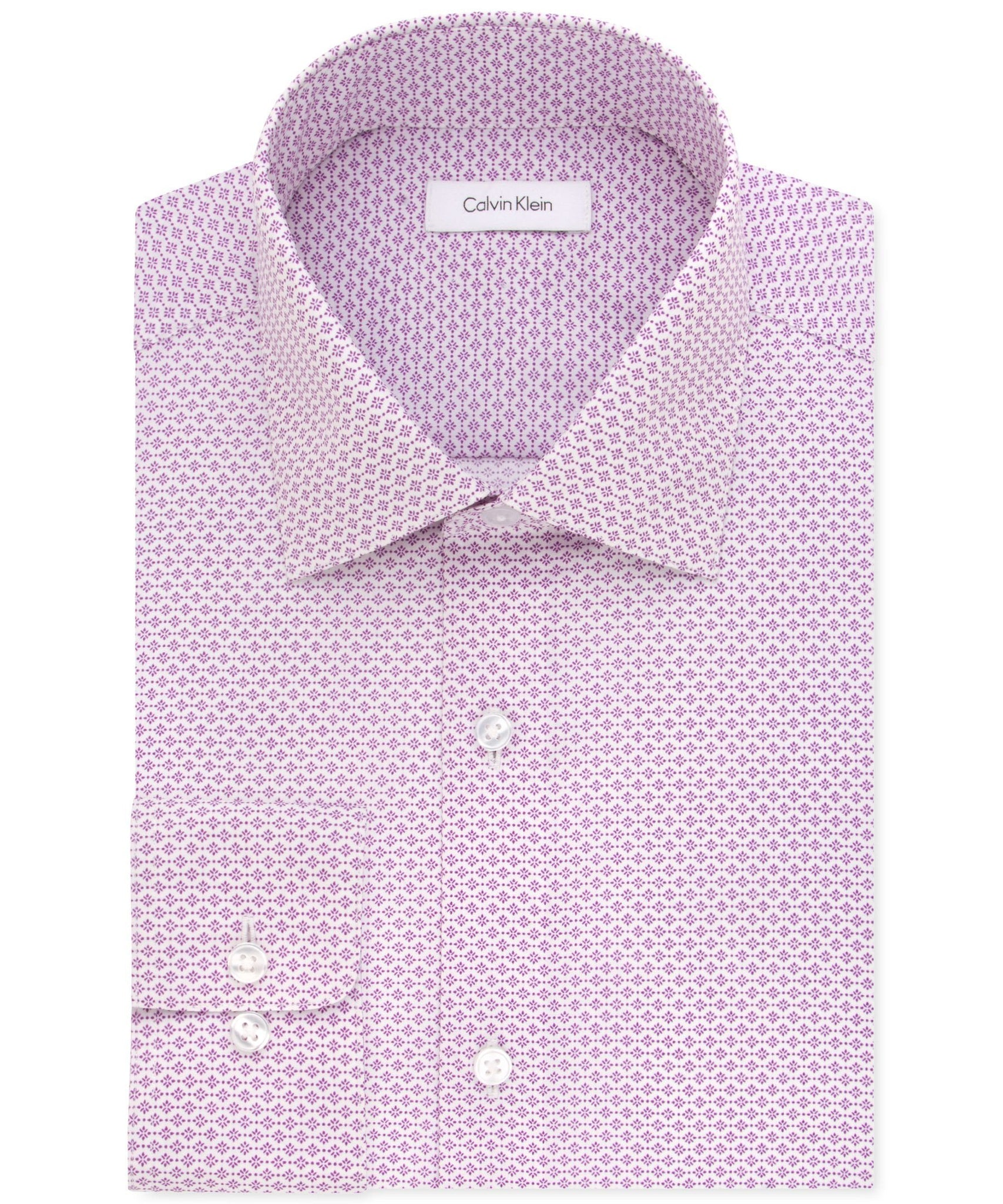 Calvin Klein STEEL Classic/Regular Fit Non-Iron Performance Purple Print Dress Shirt