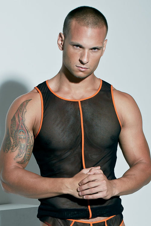 Extreme Collection Black-Orange Fishnet Glow Tank - CheapUndies.com