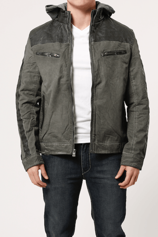 Xray Olive Cotton & Leather Look Jacket