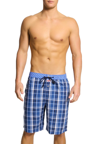 English Laundry Blue Plaid Drawsting Short - CheapUndies.com