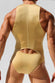 Rufskin Gold Shang Shiny Spandex Cut-Out Bodysuit