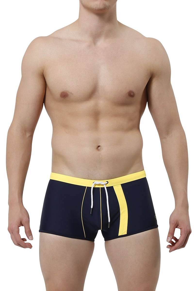 James Tudor Navy & Yellow Battle Swim Trunk
